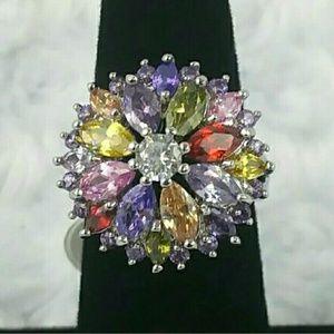 Multi Gemstone Silver Cocktail Statement Ring